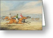 Horserace Greeting Cards - Steeplechasing Greeting Card by Henry Thomas Alken