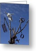 Horns Greeting Cards - Steer skull in tree Greeting Card by Garry Gay