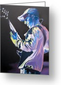Musician Drawings Greeting Cards - Stefan Lessard Colorful Full Band Series Greeting Card by Joshua Morton