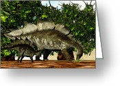 Stegosaurus Digital Art Greeting Cards - Stegosaurus 03 Greeting Card by Corey Ford
