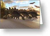 Stegosaurus Digital Art Greeting Cards - Stegosaurus Dinosaurs Graze Among Greeting Card by Corey Ford