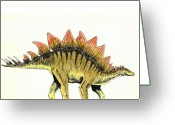 Dinosaur Greeting Cards - Stegosaurus Greeting Card by Michael Vigliotti