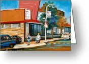 Store Fronts Greeting Cards - Steinbergs  On Van Horne Street Outremont Montreal Landmarks Greeting Card by Carole Spandau