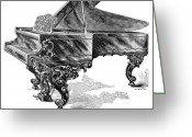 Steinway  Greeting Cards - Steinway Grand Piano, 1878 Greeting Card by Granger