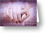 Caress Greeting Cards - Stellar Bonds Greeting Card by Jenny Rainbow