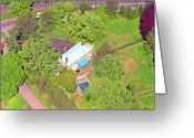 Chestnut Hill Wyndmoor Blue Bell Aerial Photographs Greeting Cards - Stenton Avenue Chestnut Hill Philadelphia Greeting Card by Duncan Pearson