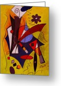 Abstract Flower Greeting Cards - Step Lively Now Greeting Card by Ruth Palmer
