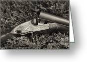 Scroll-work Greeting Cards - Stephen Grant and Sons Side Lever Twelve Bore - D003359-bw Greeting Card by Daniel Dempster