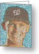 Stephen Strasburg Greeting Cards - Stephen Strasburg Card Mosaic Greeting Card by Paul Van Scott