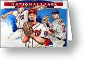 Mlb All Stars Greeting Cards - Stephen Strasburg Greeting Card by Dave Olsen