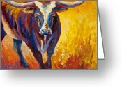 Longhorns Greeting Cards - Stepping Out - Longhorn Greeting Card by Marion Rose