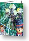 Formal Mixed Media Greeting Cards - Stepping Out Greeting Card by Mindy Newman