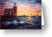 Lighthouse Greeting Cards - Steppingstones Light Greeting Card by Marguerite Chadwick-Juner
