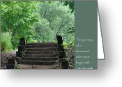 Zen Quotes Greeting Cards - Steps and Lao Tzu Quote Greeting Card by Heidi Hermes