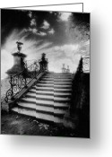 Bannister Tapestries Textiles Greeting Cards - Steps at Chateau Vieux Greeting Card by Simon Marsden