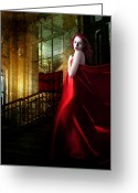 Silk Greeting Cards - Steps in Red Greeting Card by Karen Koski