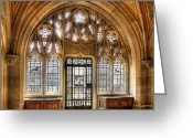 Library Pyrography Greeting Cards - Sterling Memorial Library II Greeting Card by Frank Garciarubio