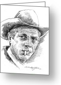 Celebrities Drawings Greeting Cards - Steve McQueen Greeting Card by David Lloyd Glover