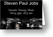 Iphones Greeting Cards - Steven Paul Jobs . Innovator . Visionary . Mentor . RIP . San Francisco Apple Store Memorial Greeting Card by Wingsdomain Art and Photography