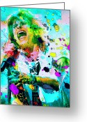 Concert Painting Greeting Cards - Steven Tyler Greeting Card by Rosalina Atanasova