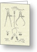 Antique Artwork Greeting Cards - Stevens Calipers and Dividers 1886 Patent Art Greeting Card by Prior Art Design