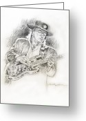Pencil Drawing Greeting Cards - Stevie Ray Vaughan - Texas Twister Greeting Card by David Lloyd Glover