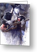 Ray Greeting Cards - Stevie Ray Vaughan 1 Greeting Card by Yuriy  Shevchuk