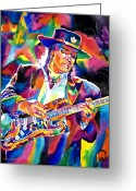 Fender Stratocaster Greeting Cards - Stevie Ray Vaughan Greeting Card by David Lloyd Glover