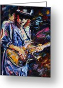 Rock  Painting Greeting Cards - Stevie Ray Vaughan Greeting Card by Debra Hurd