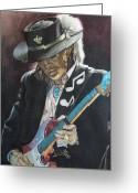Blues Greeting Cards - Stevie Ray Vaughan  Greeting Card by Lance Gebhardt