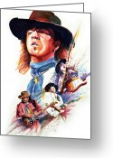 Rock And Roll Glass Greeting Cards - Stevie Ray Vaughn Greeting Card by Ken Meyer jr