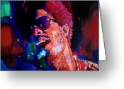 Singer Painting Greeting Cards - Stevie Wonder Greeting Card by David Lloyd Glover
