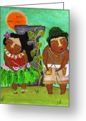 Island Cultural Art Greeting Cards - Stick Dance Delight Greeting Card by Jennifer R S Andrade