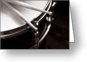 Drum Sticks Greeting Cards - Sticks on Snare Drum Greeting Card by Rebecca Brittain