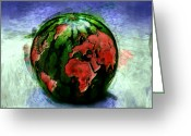 Watermelon Painting Greeting Cards - Sticky World Greeting Card by Adam Vance