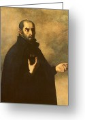 Half Length Greeting Cards - St.Ignatius Loyola Greeting Card by Francisco de Zurbaran
