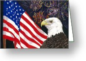 4th July Mixed Media Greeting Cards - Still Free Greeting Card by Joy Braverman