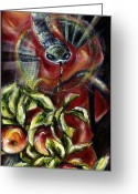 Snake Painting Greeting Cards - Still... Greeting Card by Hiroko Sakai