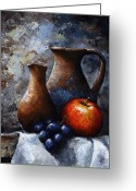 Old Painting Greeting Cards - Still life 11 Greeting Card by Emerico Toth