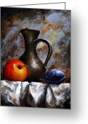 Old Painting Greeting Cards - Still life 13 Greeting Card by Emerico Toth