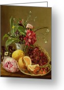 Food And Beverage Painting Greeting Cards - Still Life Greeting Card by Albertus Steenberghen