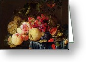 Peaches Greeting Cards - Still Life Greeting Card by Cornelis de Heem