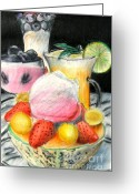 Strawberry Drawings Greeting Cards - Still Life Fruit Greeting Card by Patrice Torrillo