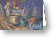 Giclee Pastels Greeting Cards - Still Life Honey Bear Greeting Card by Penny Neimiller