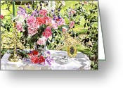 Rose Bushes Greeting Cards - Still Life In The Artists Garden Greeting Card by David Lloyd Glover