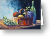 Fruit Basket Greeting Cards - Still Life in Watercolours Greeting Card by Karon Melillo DeVega