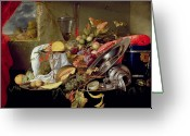 Pre-19thc Greeting Cards - Still Life Greeting Card by Jan Davidsz Heem