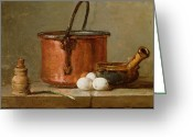 Chardin Greeting Cards - Still Life Greeting Card by Jean-Baptiste Simeon Chardin