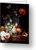 Food And Beverage Painting Greeting Cards - Still Life  Greeting Card by Johann Amandus Winck