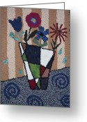 Life Tapestries - Textiles Greeting Cards - Still Life Line Play Greeting Card by Maureen McIlwain